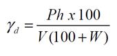 Cálculo do peso específico aparente