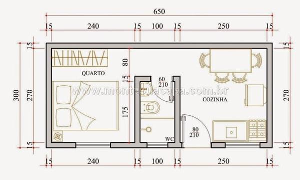 Cálculo de tijolo de uma casa simples